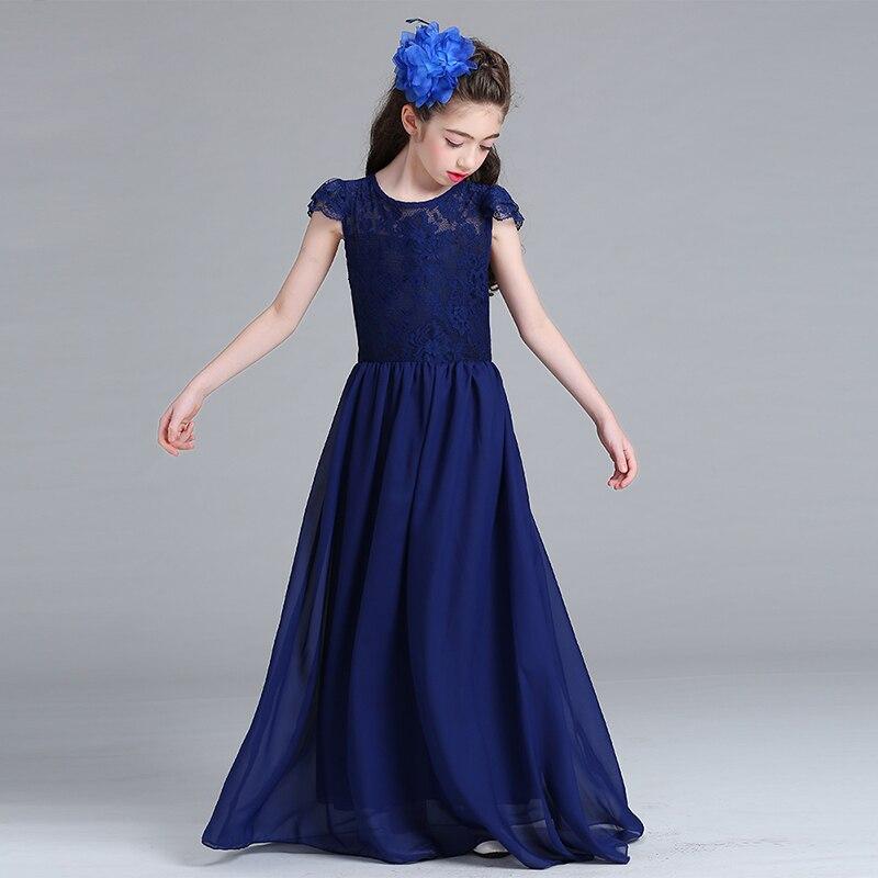 Retail Trendy Girls Evening Chiffon Long Prom Dress Bridal Dress Lace Heart Neck Children Wedding Dress Costumes Dress Lace005 mock neck allover pattern dress