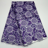 Organza Lace Fabric 2019 Purple African Double Organza Lace Fabric High Quality Sequined Handcut Organza Lace Fabric ST528