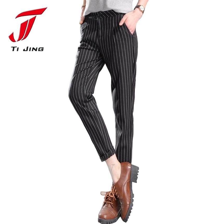 111e559b Новинка 2017 года поступление весенние женские штаны в полоску повседневная  женская обувь брюки Британский стиль низкой талией 2XL женские узкие брюки,  ...