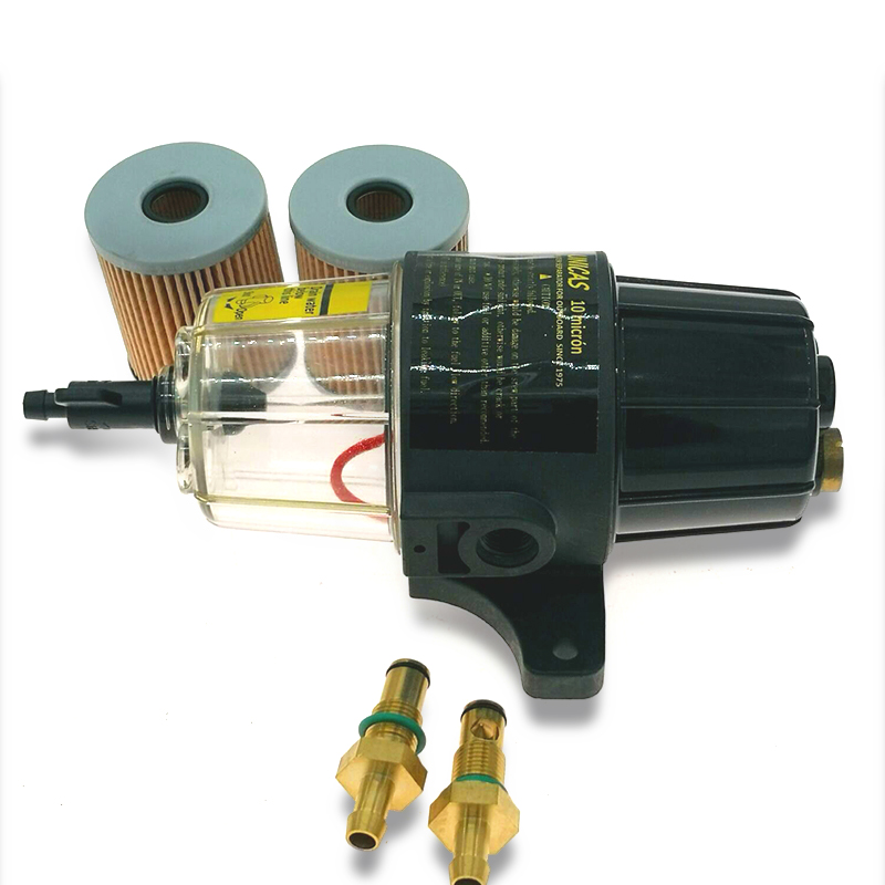 UF-10K Fuel Filter / Water Separator Assembly - Clear Bowl FOR OUTBOARD MOTOR with 2 filter elements