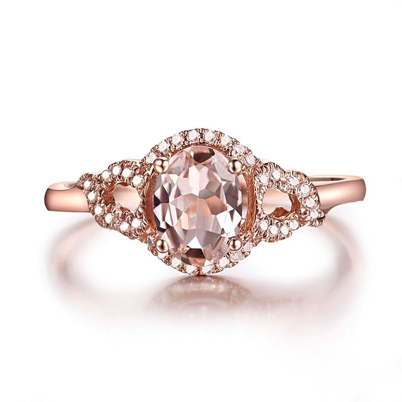 HELON Solid 10k Rose Gold Oval Cut  7x5mm Morganite Natural Diamonds Ring Gemstone Diamonds  Engagement Wedding Ring Present