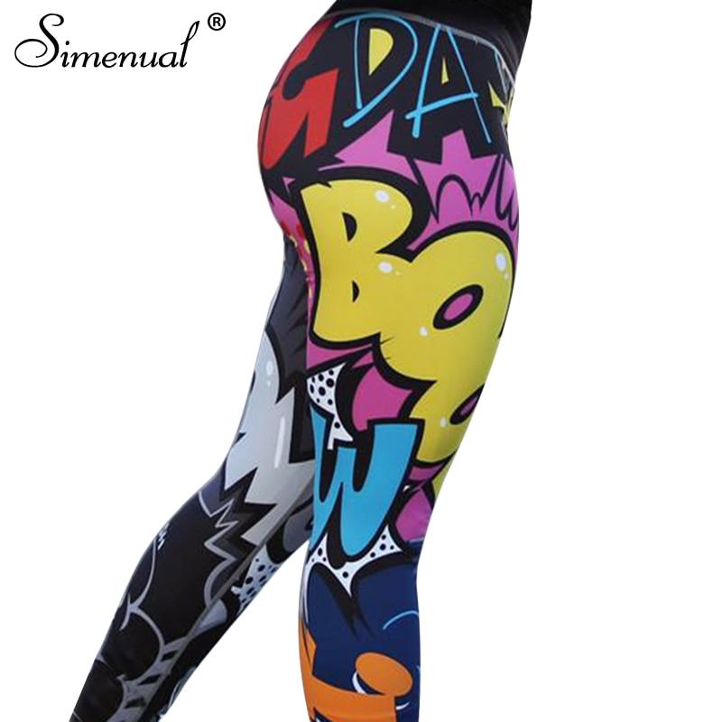 Simenual Funny print harajuku fitness legging female pants 2018 bodybuilding jeggings athleisure sportswear leggings women sale