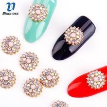 10Pcs/Lot Glitter Rhinestones Round Flowers Design Metal Nails 3D Decoration Fashion Gleam Diamond Nail Art Accessories Jewelry