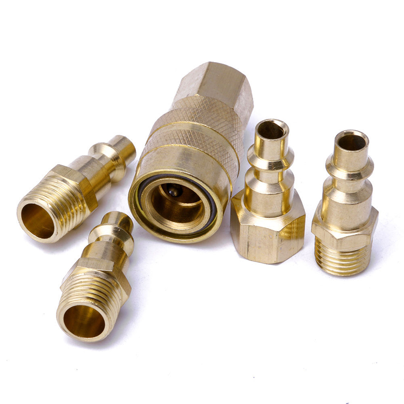 5pcs Solid Brass Quick Coupler Set Air Hose Connector Fittings 1/4 NPT Plug Female Male Quick Plugs Tools Mayitr 6 pcs air pipe fittings 1 4pt male thread hex socket brass plugs caps