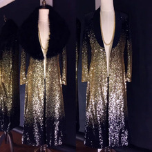 Gold Sequins Long Coat Fashion Slim Trench Coats Nightclub Bar Male Singer Host Stage Wear Outerwear