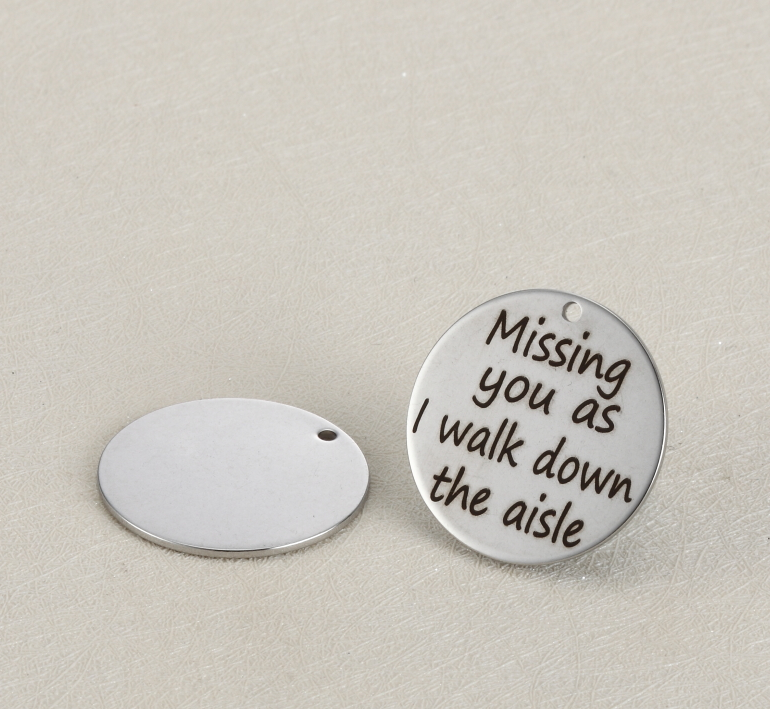20pcs/lot 25mm New Arrival Stainless Steel Charms Miss You As I Walk Down The Aisle For Diy Jewellery Making
