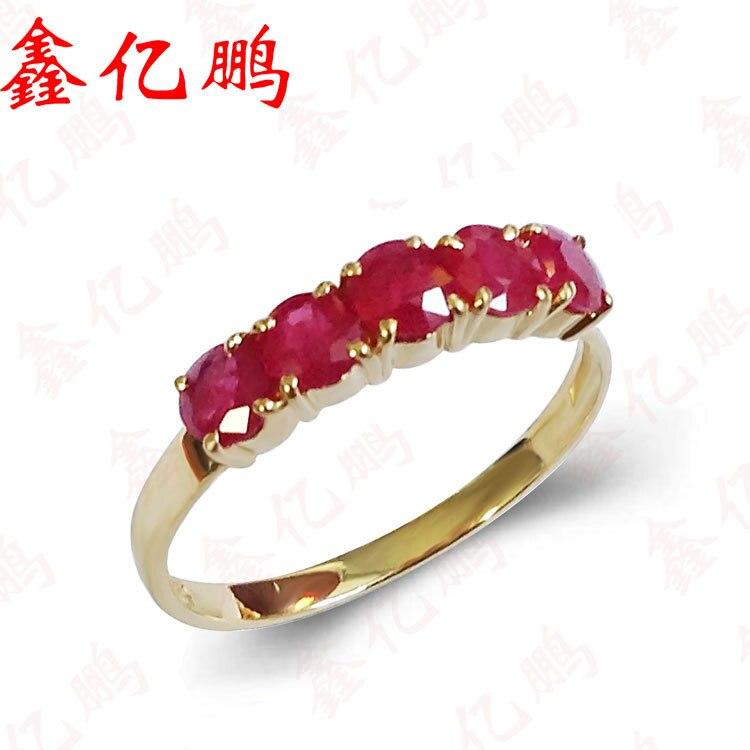 Femmes 18 k or incrusté naturel rubis anneau Noble mode exquis cadeau de mariage pour la vraie chose