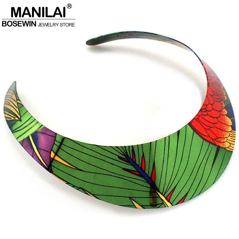 MANILAI Ethnic Country Style Painting Design Torques Charm Chokers Necklaces Statement Jewelry For Women Dress Fashion Collar ethnic style v neck embroidered button design women s dress