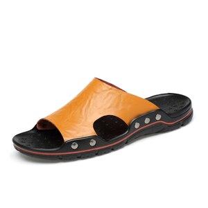 Image 3 - Verão chinelos de couro dos homens slides chinelo slide masculino chinelo chinelo sapatos tamanhos grandes venda quente fora plana 5 cores
