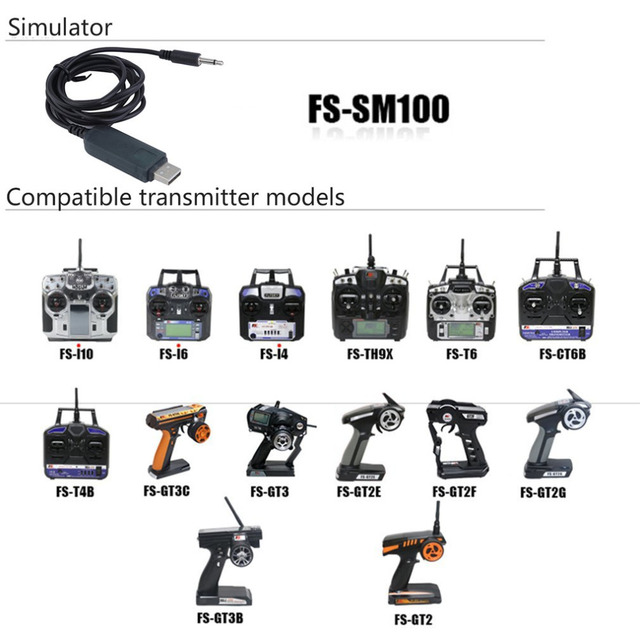 Flysky FS-SM100 RC USB Flight Simulator With FMS Cable Helicopter Controller 2.4G
