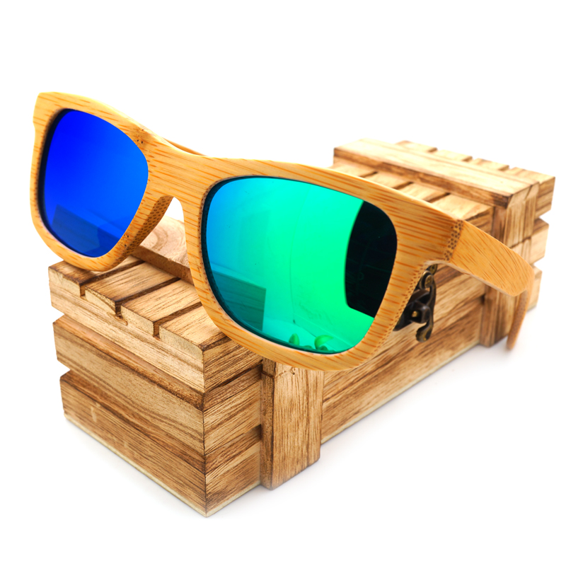 BOBO BIRD प्राकृतिक हस्तनिर्मित बांस धूप का चश्मा विंटेज ध्रुवीकृत दर्पण कोटिंग लेंस Eyewear gafas de sol