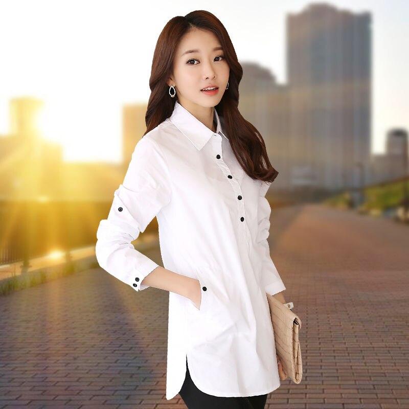Women Long Sleeve Blouse Shirt Elegant Blusa Feminina Cotton Women Fashion White Shirt Women Plus Size Blouses Work Wear XXXL