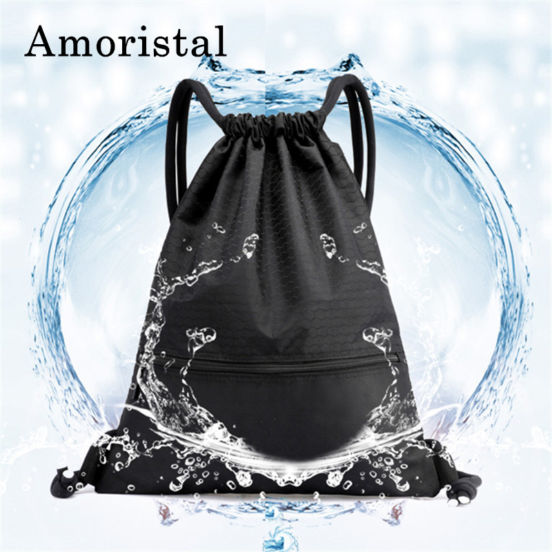 все цены на Drawstring Bag Geometric Pattern Waterproof Portable Folding Travel Softback Man Women Bags Storage Drawstring Backpacks B217