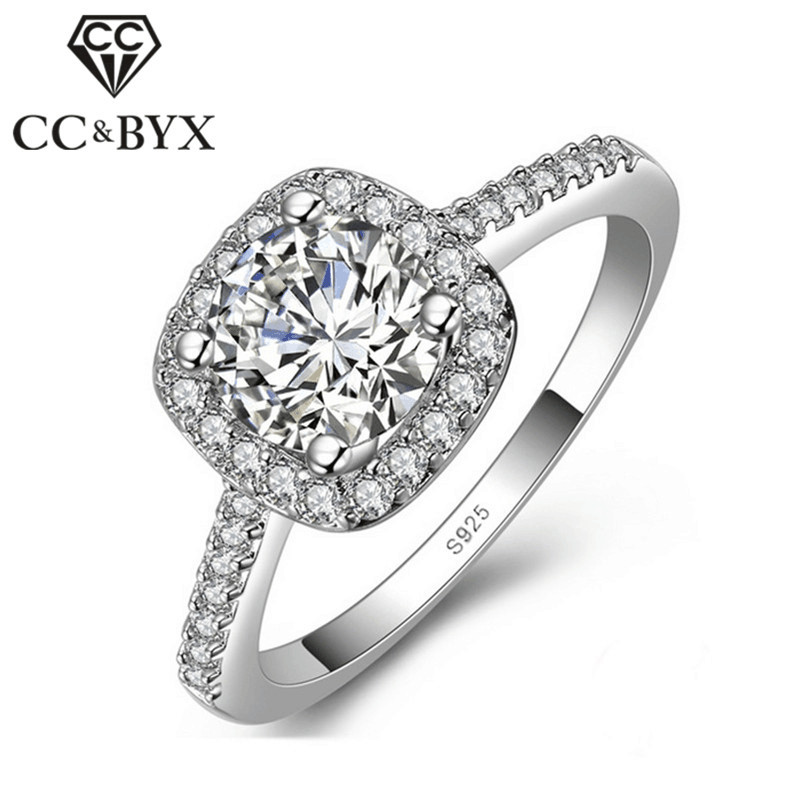Fashion jewelry 1.25 carat square CZ  rings for women white gold color engegement wedding rings bijoux gift CCR035