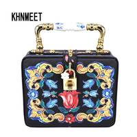 Fashion Box Evening Bag Oil Painting Flower Black Lock Clutch Bag Strap Mini Tote Bag Ladies