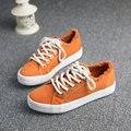 Nueva Llegada 2017 Moda Casual Zapatos de Lona Del Cordón Zapatos de Plataforma Zapatos de Lona de color Caramelo Al Aire Libre Tamaño 35 ~ 40