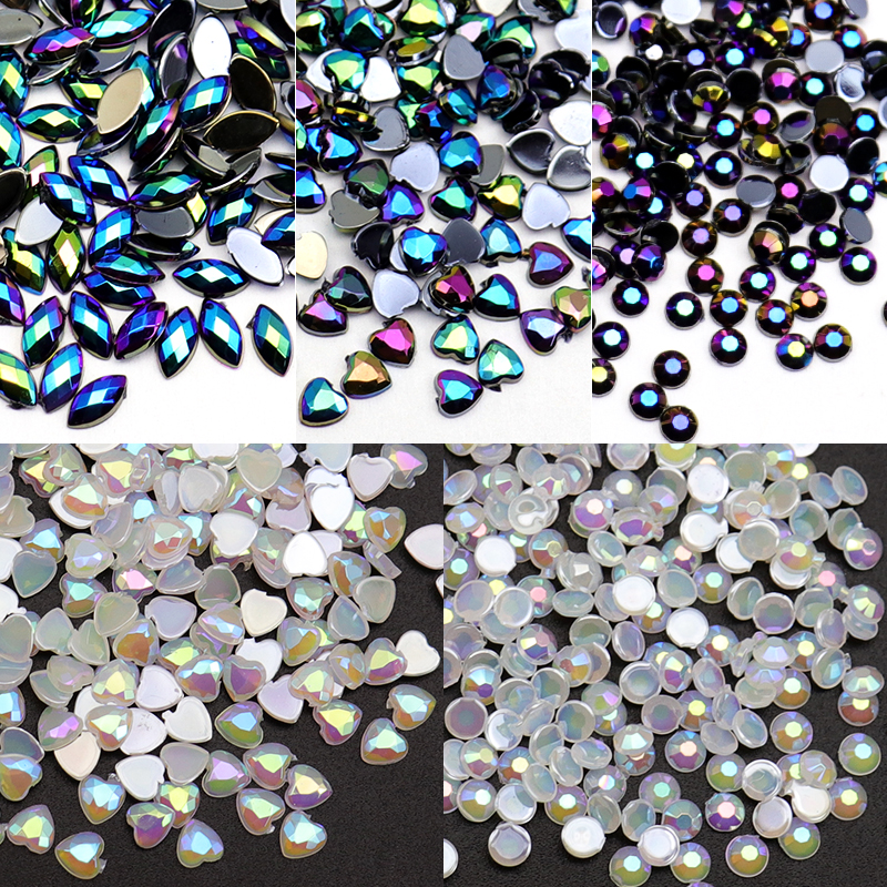 WAKEFULNESS 500Pcs AB Horse Eye Crystal Rhinestones for Nails Heart Round Gemstones Nail Charms Manicure 3D Nail Art Decorations 100pcs pack gold nail art decorations 3d metal nails studs trinket heart triangle round horse eye manicure accessories tools