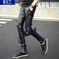 2017 new men Slim leather pants Fashionable men leisure tight stitching PU leather pants feet  Nightclubs personality male pants