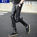 2017 novos homens calças de couro Fino homens Elegantes de lazer apertado costura PU calças de couro calças pés Discotecas personalidade masculina