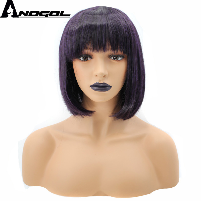 Anogol High Temperature Fiber Glueless Short Straight Natural Deep Purple Ombre Dark Roots Bob Synthetic Wig With Bangs