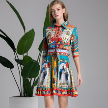 2019 SPRING SUMMER Womens retro print half sleeves dress Brand new design vintage  A227