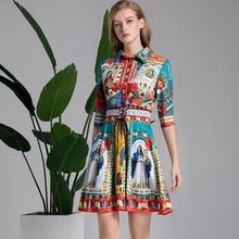 2019 SPRING SUMMER Women's retro print half sleeves dress Brand new design vintage dress  A227 new design spring