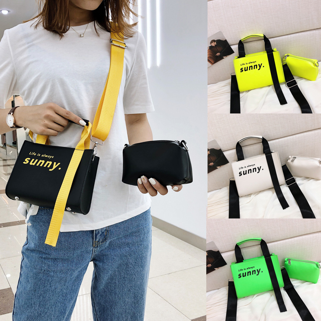 Women's Fashion Fluorescence Color Bag  Composite Bag Casual Bag Shoulder Bag  Handbags Female Korean Style Crossbody Bags(China)