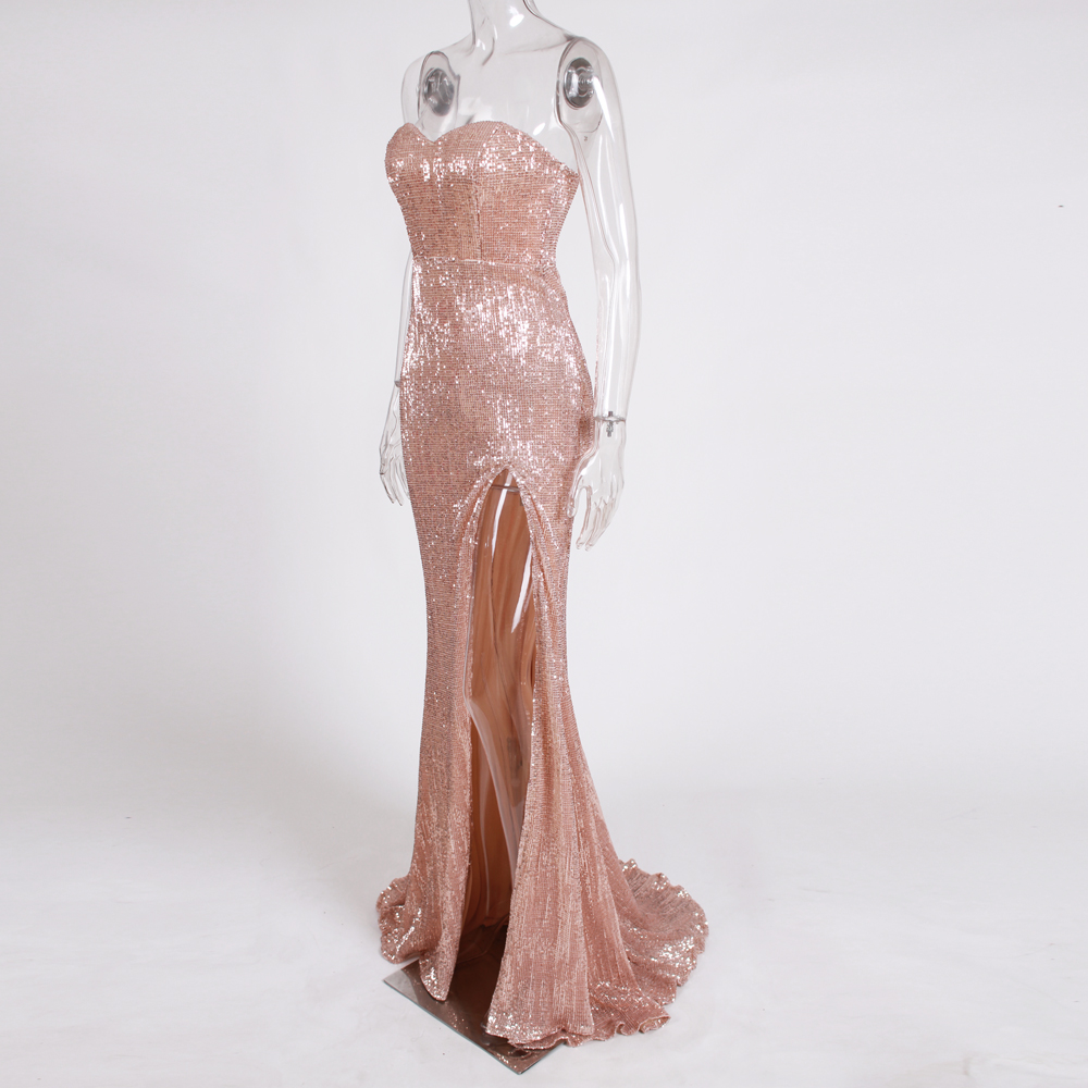 Aliexpress.com   Buy Split Front Champagne Gold Sequined Party Dress  Strapless Bodycon Floor Length Maxi Dress Padded Backless Slit Leg Mermaid  Dress from ... abbbe95f9d56