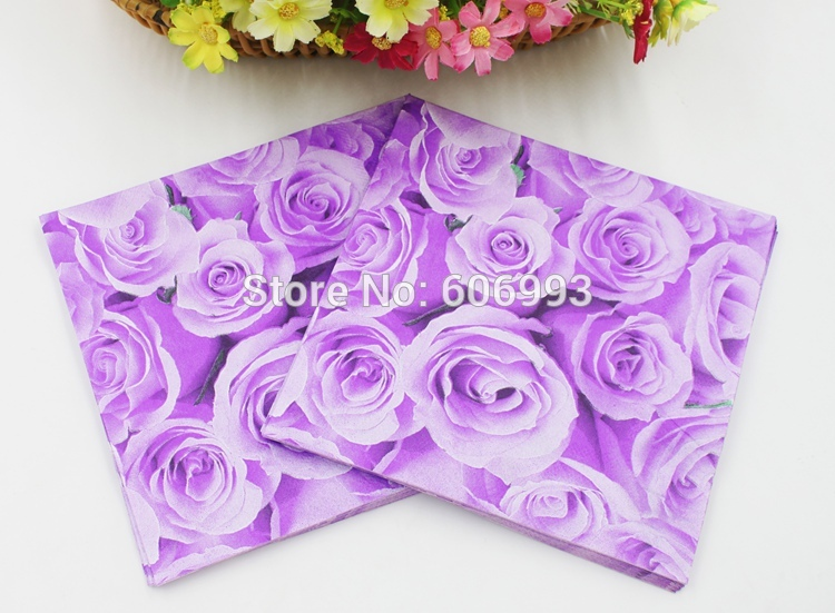 [Rainloong] rosa rosa flor madre festivo y fiesta servilletas de papel tissue de