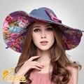 2016 Nueva Moda de Estilo Chino Elegante Plegable Sombrero de Protección UV de Las Mujeres Grande Ancho de Playa Del Verano Del Borde Viajar Sombrero B-3205