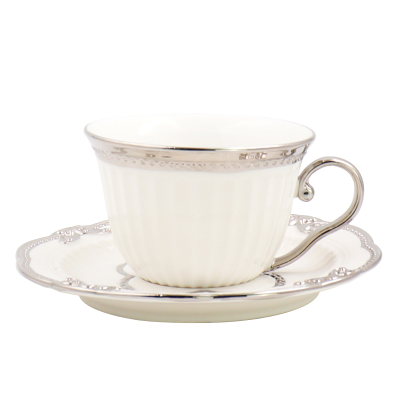 European luxury afternoon tea Cup Saucer Set with Spoon Home Ceramic coffee cup with dish Set Creative Crown coffee cup saucer