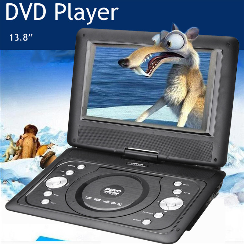 9Pcs/set 13.8 mini Portable DVD Player CD Digital Multimedia Player Swivel USB SD Support Game Function With TV Car Charger