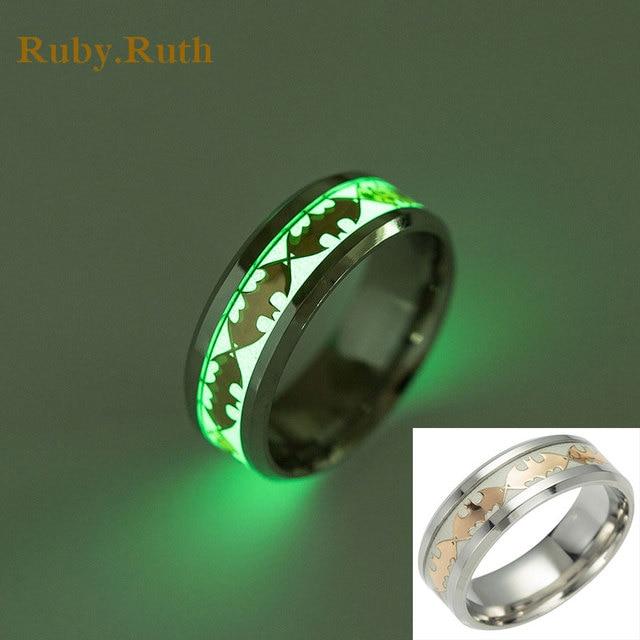 Luminous Men Ring Stainless Steel Batman Mens Rings Wedding Jewelry