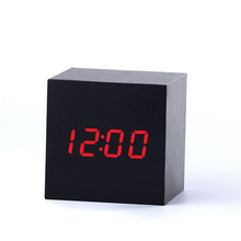 LED Wooden Light alarm Clock Despertador Western Digital External Clock Hygrometer USB Power Battery Electronic Desktop Time