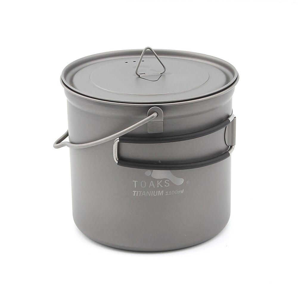 TOAKS POT-1100-BH Titanium 1100ml Pot With Bail Handle toaks pot 1350 ultralight titanium 1350ml pot with bail handle outdoor camping tableware