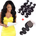 7A Brazilian Virgin Hair With Closure With Baby Hair Brazilian Human Hair Weave 3 Bundles Brazilian Body Wave With Lace Closure