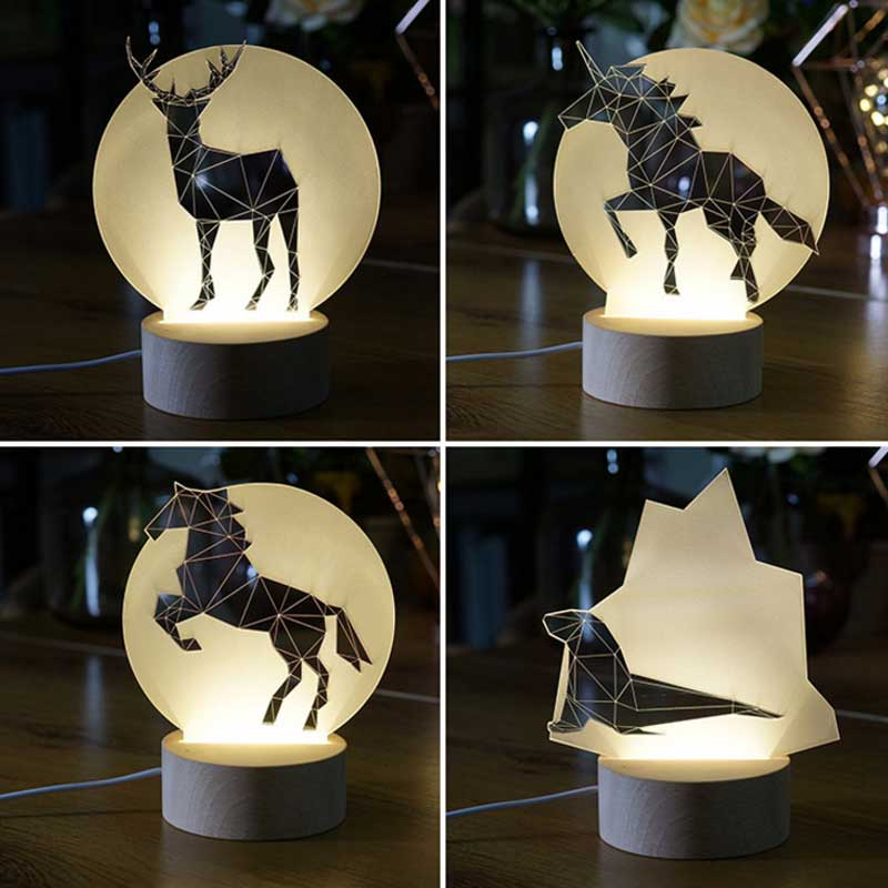 Nordic wind creative 3d night light ins lamp modeling lamp cute animal modeling pony swallow penguin wolf elk  Bear for gift пинетки митенки blue penguin puku