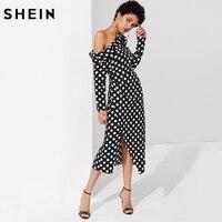 SHEIN Women Party Long Dress Foldover Knot Asymmetric Shoulder Polka Dot Dress Black And White Long
