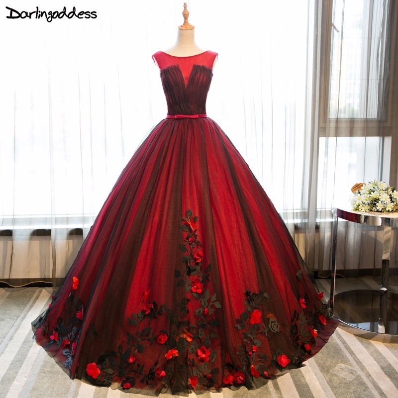Darlingoddess Real Photo Ball Gown Evening Dresses 2018 Backless Red Black Formal Dresses Butterfly Flower Party Evening Gowns