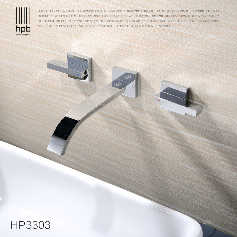 HPB Widespread Contemporary Bathroom Basin Sink Waterfall Faucet Wall Mounted Mixer Tap Hot and Cold Water HP3303 contemporary designed chrome brass waterfall widespread bathroom basin faucet