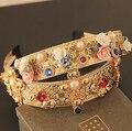 Famosa marca de estilo barroco palácio real retro namorada de ouro coroa cocar de cabelo hairpin
