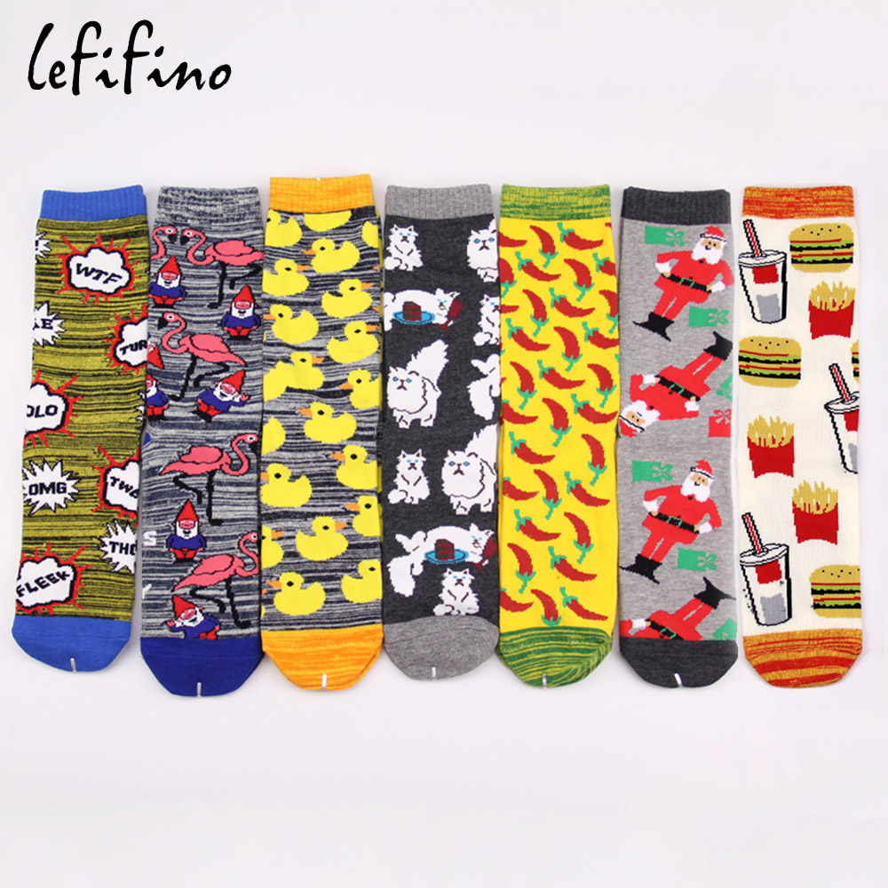 women cute winter christmas   socks   duck flamingo cat animal crazy   socks   cotton pineapple funny xmas   socks   WTF Chili drinking   sock