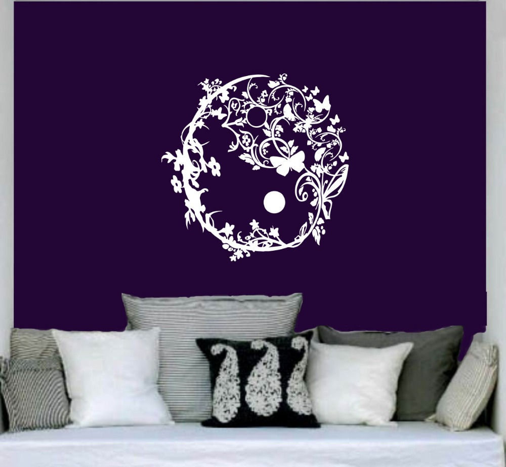 popular wall mural mirror circle buy cheap wall mural mirror creative designed flower pattern yoga wall stickers tribal circle art flower wall murals for home livingroom