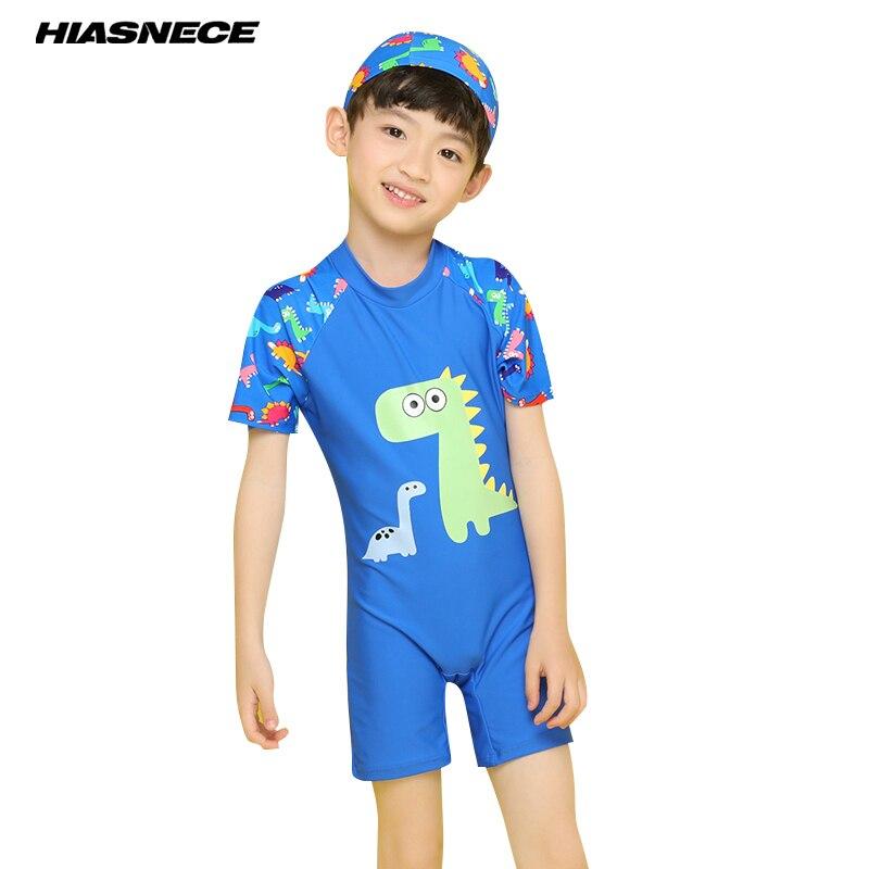 1-10Y boy cartoon swimwear one piece suit with swimming cap dinosaur printed swimsuit infant children 2018 new Kids bathing suit