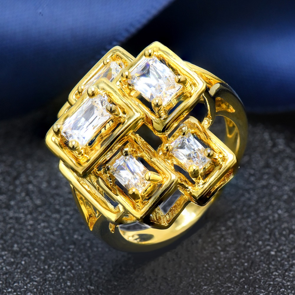 Hutang high fashion women s yellow gold geometry ring solid 925 sterling silver white zircon engagement
