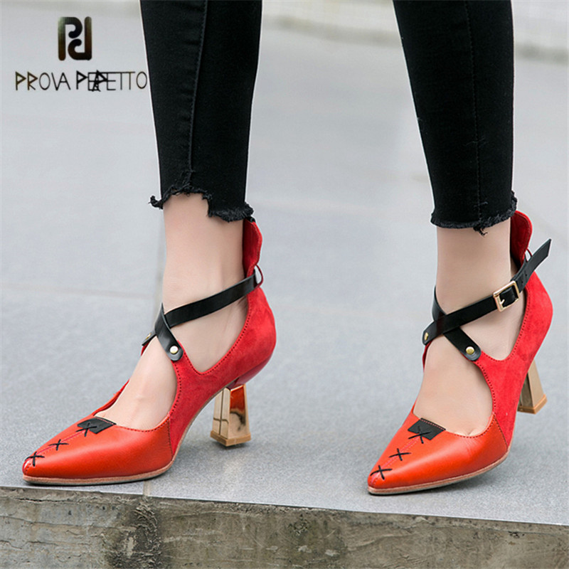 Prova Perfetto Sexy Cross Strap Women Pumps Pointed Toe 8CM Chunky High Heels Wedding Dress Shoes Woman Stiletto Zapatos Mujer zapatos mujer pointed toe thin high heels sandals mixed color single shoes woman stiletto dress women pumps 2018
