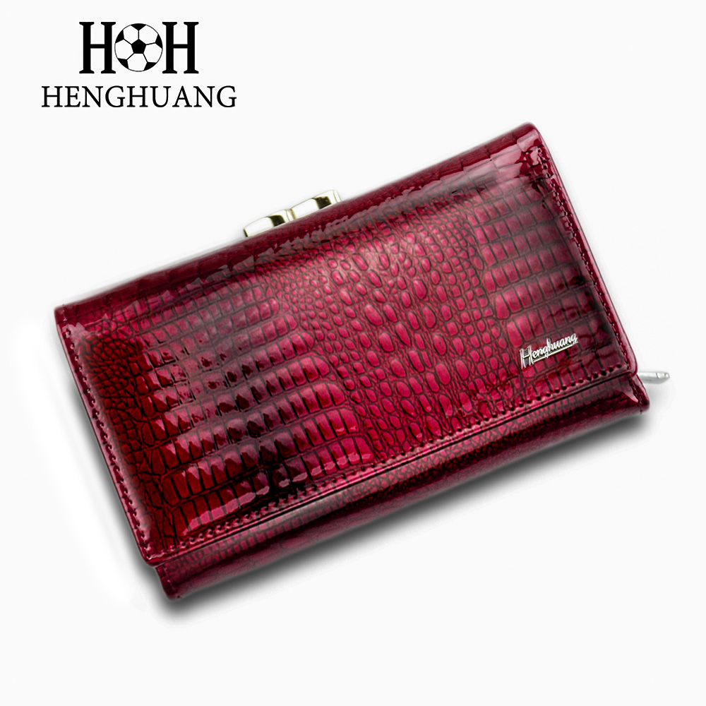 HH Women Luxury Brand Fashion Genuine Leather Short Wallet Female Alligator Hasp Lady Coin Purse Purses Small Wallets Purses