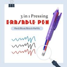 Xiamei 1Pcs Erasable Pen 3 In 1 Stationery Gel Pen 3 Colors 0.5mm Office School Supplies