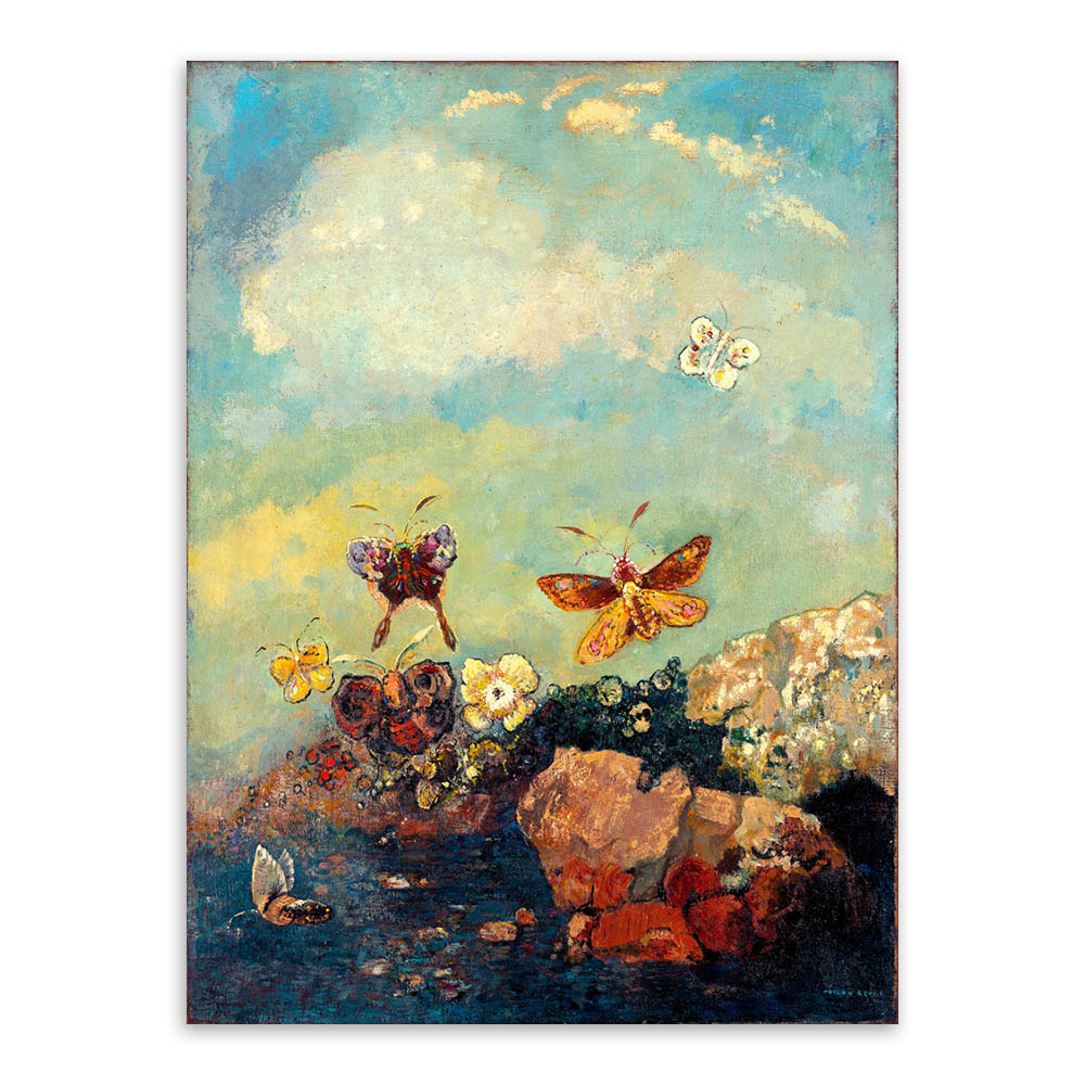 Christmas Gift Impressionist Animal Oil Painting Yellow Butterfly by Odilon Redon Home Decor Art Painting on Canvas Handpainted