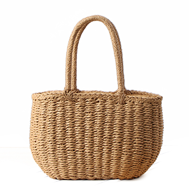 HCH-Fashion Summer Beach Bag Handmade Bag Rattan Basket Bag Women Holiday Bohemian Bag Small Tote women bohemian straw bags ladies small beach weave handbag tote handmade summer wicker basket ribbons rattan holiday travel ins